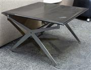 Sale 8746 - Lot 1019 - Black Leather Stool, on steel X frame legs