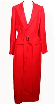 Sale 9029F - Lot 9 - A CARLA ZAMPATTI LONG RED COAT; with loose belt with silver tone buckle (no belt loops to coat), 71% acetate, 29% polyester, size 12...