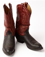 Sale 9080F - Lot 21 - A PAIR OF TONY LAMA TWO TONE MENS LEATHER COWBOY BOOTS; with embroidery all round, Size 10D