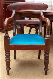 Sale 9058H - Lot 5 - A C19th cedar bar back elbow chair with aqua upholstery, Height of back 90cm
