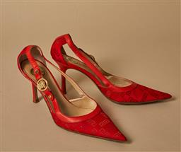 Sale 9093F - Lot 17 - A pair of Vintage monogrammed Versace red heels size 39