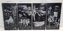 Sale 9121 - Lot 1025 - Set of four Oriental inlaid wall panels depicting village scenes (h:50 x w:30cm, each) -
