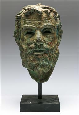 Sale 9138 - Lot 2 - A Bronze Head of a Grecian/Roman Man On Stand (H:40cm)
