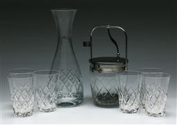 Sale 9156 - Lot 72 - A cut glass drinks suite inc carafe (H:27cm) and 6 tumblers (H:10cm) together with an ice bucket (H:13cm)
