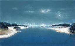 Sale 9195 - Lot 526 - KEN JOHNSON (1950 - ) - Arcanum, 1997 acrylic on canvas 122 x 198 cm (frame: 137 x 212 x 10 cm)