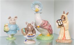 Sale 9256H - Lot 93 - A group of three Beswick ware Beatrix potters animal figures including Jemima Puddle-Duck, H15cm, Little pig Robinson, Appley D...