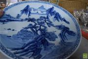 Sale 8304 - Lot 33 - Chinese Blue & White Plate Decorated with a Mountain Scene
