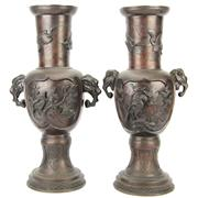 Sale 8342 - Lot 59 - Japanese Bronze Pair of Vases