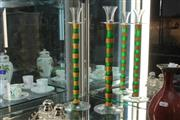 Sale 8346 - Lot 18 - Orrefors Pair of Stem Shot Glasses with Green & Gold Candystripe Detail