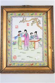 Sale 8381 - Lot 107 - Framed Ceramic Hand Painted Famille Courtesan Scene