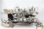 Sale 8521 - Lot 148 - Large Silver Plate Collection inc Hot Plate, Trays, Teapots and Candlesticks