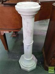 Sale 8539 - Lot 1043 - Antique Style White Marble Pedestal, with turned column & octagonal base, H 103cm