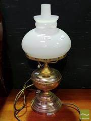 Sale 8545 - Lot 1010 - Brass Lamp with Milk Glass Shade