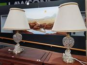 Sale 8700 - Lot 1011 - Pair Crystal Table Lamps with Shades