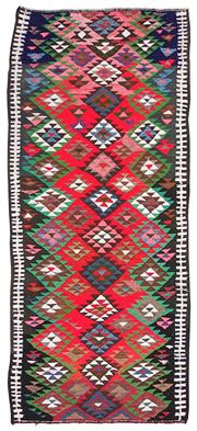 Sale 8725C - Lot 33 - A Vintage Persian Gypsy Kilim Carpet, Hand-knotted Wool & Cotton, 295x130cm, RRP $3,000