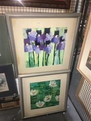 Sale 8751 - Lot 2061 - Pair of Original Paintings Waterlillies and Iris by Unknown Artist, framed/various sizes