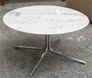 Sale 8746 - Lot 1070 - A modern white round marble top (broken) occasional table on steel base