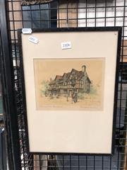 Sale 8789 - Lot 2119 - Marjorie Bates - Shakespeares Birth Place, Stratford-on-Avon Print
