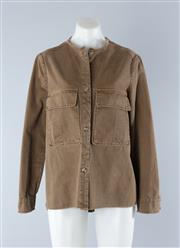 Sale 8800F - Lot 33 - A khaki cotton safari jacket with frayed hems and twin pockets by Zara Trafaluc, size medium