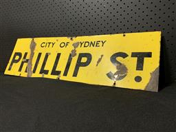 Sale 9117 - Lot 1069 - Vintage enamel double sided PHILLIP STREET sign (h:20 x w:69cm)