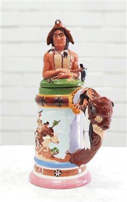 Sale 9117 - Lot 1045 - Vintage oversized polychrome native American lidded pottery tankard, sign to base (h:34cm)