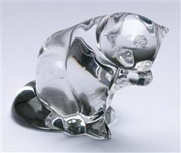 Sale 9148 - Lot 61 - A Villeroy and Boch crystal figural cat paperweight, signed to base, (H:9.5cm)