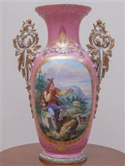 Sale 8430 - Lot 95 - A large C19th French pink ground mantel vase painted with a mountain landscape (crack to body). Height 51cm.