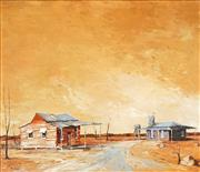 Sale 8484 - Lot 506 - Ric Elliot (	1933 - 1995) - Outback Town 59.5 x 70cm