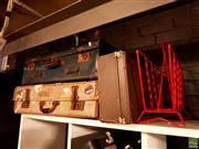 Sale 8582 - Lot 2233 - 3 Suitcases & Magazine Rack