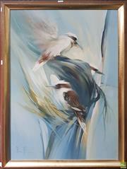 Sale 8595 - Lot 2012 - Peter Abraham - Kookaburras, oil on canvas (AF), 101 x 70cm, signed lower left