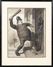 Sale 8653A - Lot 32 - GH Dancy - Cartoon from the Melbourne Punch Newspaper; Sir Thomas Bent Bringing Down the Door of Victoria Villa with Axe of Parliame...