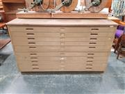 Sale 8839 - Lot 1017 - Timber 8 Drawer 2 Piece Map Chest with Painted Finish