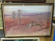 Sale 8767 - Lot 2062 - Artist Unknown - Hunting Kangaroo acrylic on board, initialled lower right