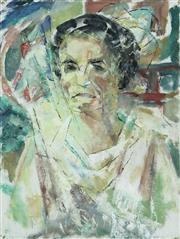 Sale 8787A - Lot 5016 - Frank Hinder (1906 - 1992) - Portrait of Margel (Wife), 1972 36 x 27cm