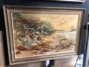 Sale 8789 - Lot 2097 - Helen Goldsmith - Riverbed, oil on canvas, SLR -