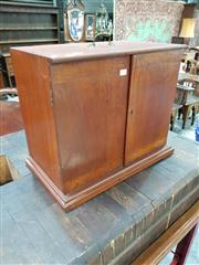Sale 8792 - Lot 1032 - Small Antique Possibly Scientific Instrument Cabinet, with two doors, two small drawers internally, with carry handle (key in office)