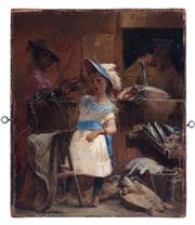 Sale 8994H - Lot 75 - American school circa 1850 - Young girl at fish market