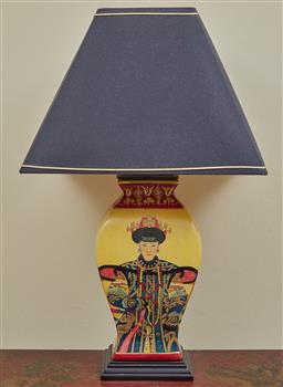 Sale 9097H - Lot 42 - A Ceramic Chinese lamp with yellow ground and silk shade.  height 70cm
