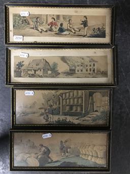 Sale 9113 - Lot 2050 - 4 Engravings of Farm Scenes frame size 2 x 11.5x31cm & 2x 11.5x28cm