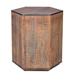 Sale 9180F - Lot 3 - Art deco inspired side table constructed from brushed reclaimed timber with aged pewter metal edging on top and bottom. Top features...