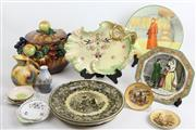 Sale 8470 - Lot 24 - Cabinet Plates, Pin Dishes & Other Ceramic Wares incl Austrian Lidded Fruit Dish & Crown Devon Fielding Cake Plate