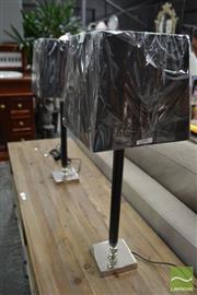 Sale 8480 - Lot 1169 - Pair of Black & Chrome Leatherette Table Lamps (5702)