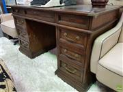 Sale 8580 - Lot 1016 - Oak Twin Pedestal Desk (74 x 127 x 66.5cm)