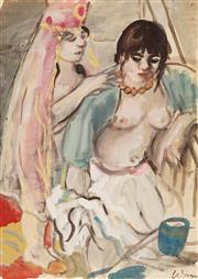 Sale 8652 - Lot 506 - Wendy Sharpe (1960 - ) - Girls in Vail 56.5 x 40cm