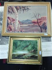 Sale 8663 - Lot 2091 - 2 Works: J.Crofts - Bird at Waterhole, SLR & Nelson Pannka - Central Australia, Watercolour, SLR