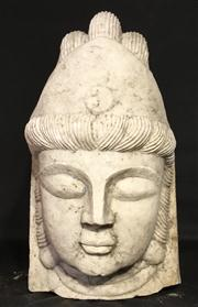 Sale 8706A - Lot 8 - An impressive large antique hand carved marble budda head, H 41 x W 25cm