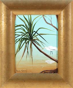Sale 9199J - Lot 68 - Sue Nagel - Egret in the Mangroves 19cm x 14cm