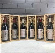 Sale 8987 - Lot 643 - A set of 6 Penfolds Grange signed by 6 Prime Ministers of Australia to celebrate 40 years (1968-2007).  1x 1970 Penfolds Bin 95 ...