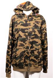 Sale 9029F - Lot 69 - A BATHING APE HOODED JERSEY; green cotton knit camouflage print, full zip, size XXL.