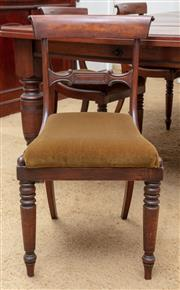 Sale 9058H - Lot 31 - A set of six bar back dining chairs with olive velvet upholstered seats, Height of back 84cm